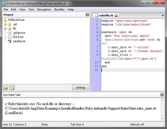 c:Rubybinruby.exe: No such file or directory -- C:UsersderickbAppDataRoamingeInstalledBundlesRuby.tmbundleSupportRakeMaterake_mate.rb (LoadError)